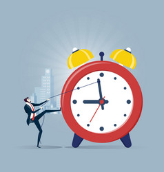 businessman pulling clock in time management vector image