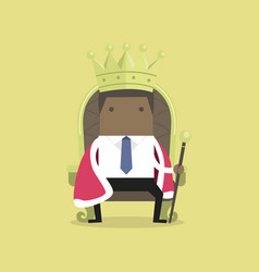 Businessman sitting on the throne with the crown vector