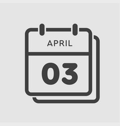calendar day 3 april days year vector image