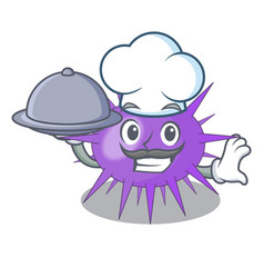 Chef with food underwater scenery on mascot sea vector