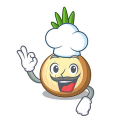 Chef yellow onions in the cartoon basket vector