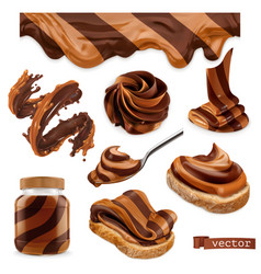 chocolate and peanut butter 3d realistic icon set vector image
