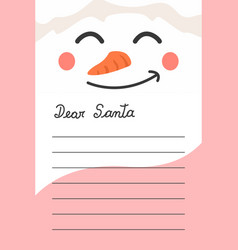 christmas card letter to send message to santa cla vector image