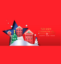 Christmas new year paper cut winter city banner vector