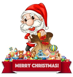 Christmas theme with Santa and many toys vector