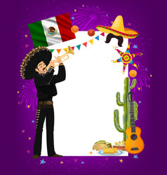 Cinco de mayo frame with mariachi artist vector