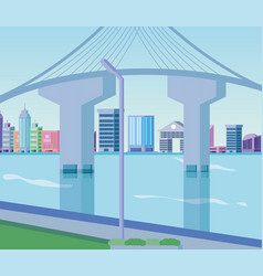 City and bridge design vector