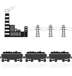 Coal power plant and train with coal eps10 vector