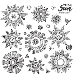 Collection of graphic doodle suns vector