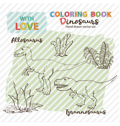 Coloring book allosaurus and tyrannosaurus with vector