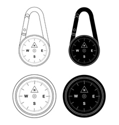 Compass set Contour and silhouette vector image
