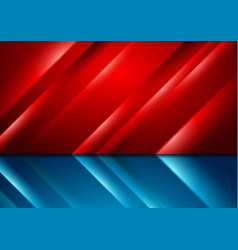 Contrast red and blue glowing stripes technology vector