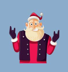 cool rock and roll santa claus cartoon vector image