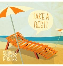 cute summer poster - sun baon chaise vector image