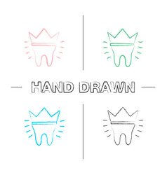 Dental crown hand drawn icons set vector