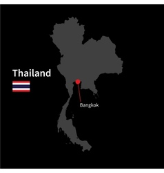 Detailed map of Thailand and capital city Bangkok vector