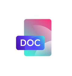 doc format icon gradient flat style bright vector image