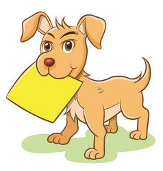 Dog holding empty paper note label vector