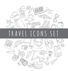 Doodle icons travel set vector