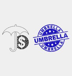 dotted financial umbrella icon and grunge vector image