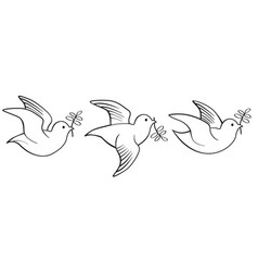 doves and pigeons birds logo set for peace vector image