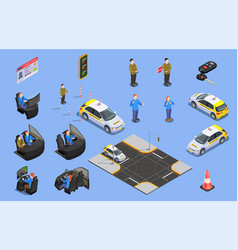 Driving school isometric icons vector