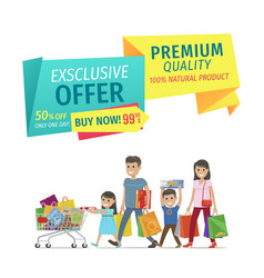 Family shopping on store sellout promotion poster vector