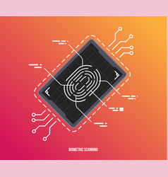 finger scan in futuristic style biometric id with vector image