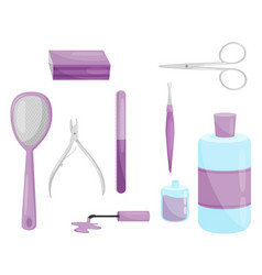 flat set of tools for nail care vector image