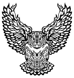 Flying owl black and white vector