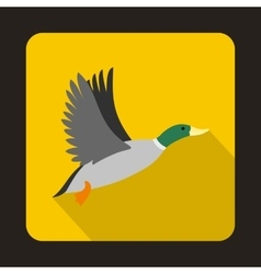 Flying wild duck icon flat style vector