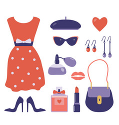 french style clothes and accessories set vector image