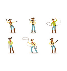 funny cartoon character of western cowboy with vector image
