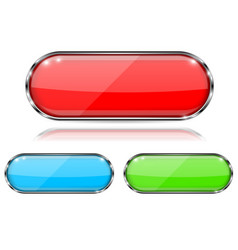 glass buttons red green and blue oval 3d buttons vector image
