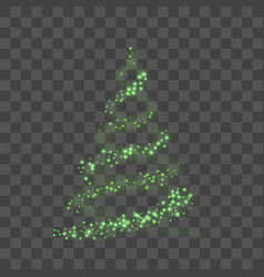 green christmas tree on transparent background vector image