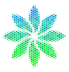 halftone blue-green abstract flower icon vector image