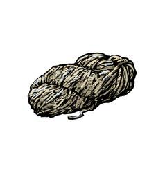 Hand spun twisted yarn of grey wool farm product vector