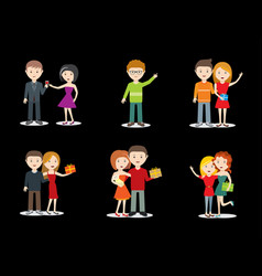 happy young couple and friends character set vector image