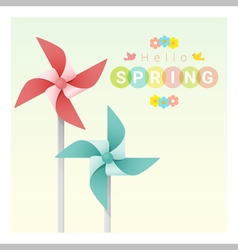 Hello spring background with colorful pinwheels 2 vector