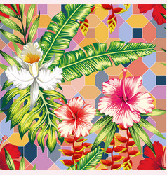 hibiscus palm leaves orchid positive energy color vector image