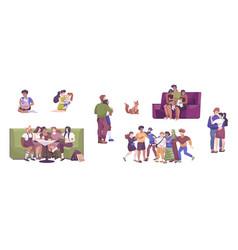 International hug day icon set vector