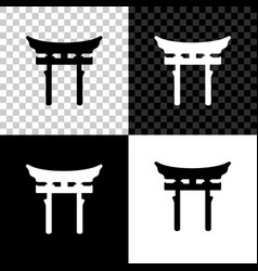 japan gate icon isolated on black white and vector image