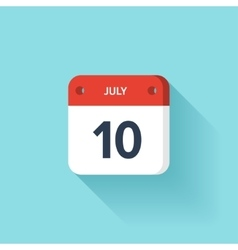 July 10 Isometric Calendar Icon With Shadow vector