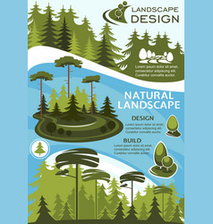 Landscape design banner with green tree and plant vector