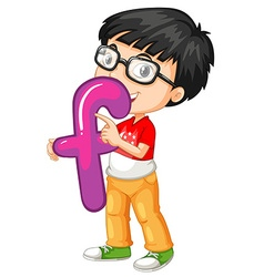 Little boy holding letter F vector image