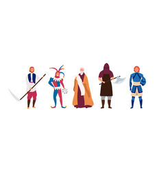 medieval male characters flat vector image