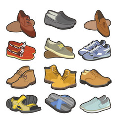 Men shoes boots types flat isolated icons vector