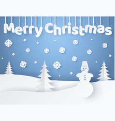 Merry christmas paper banner vector