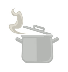 Metal saucepan with open cover and steam isolated vector