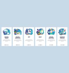 Mobile app onboarding screens digital vector